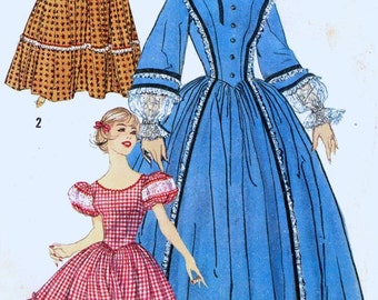 50s Rockabilly dress Centennial costume hat Square dance Sewing pattern Prairie style Simplicity 3294 Bust 34