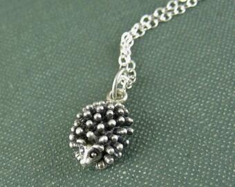 Sterling Silver Hedgehog Necklace, Hedge Hog Charm Woodland Creature, Gift Under 50 40, Silver Animal Necklace