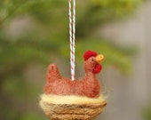 Chicken in a Walnut - Rhode Island Red - Needle Felted Ornament