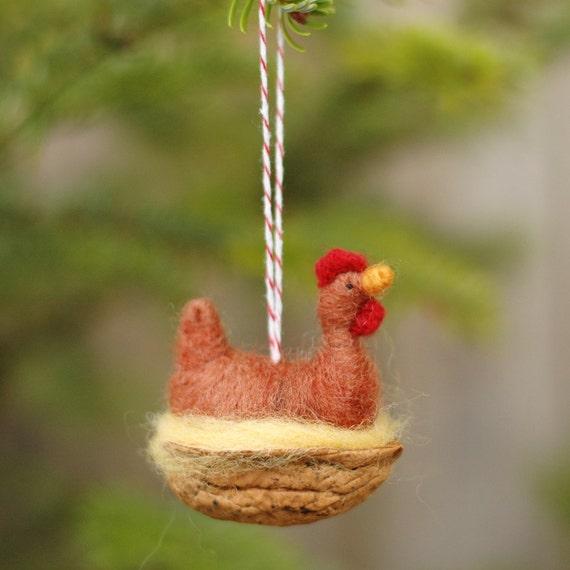 Chicken in a Walnut - Rhode Island Red - Needle Felted Ornament