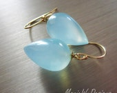 Reserved for Katie-Aqua Chalcedony Teardrops-Everyday Sterling Silver Dangle Earrings
