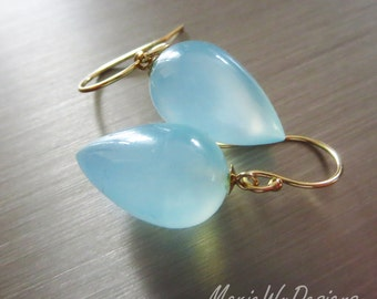 14k Aqua Chalcedony Teardrops-Everyday Solid Gold Dangle Earrings