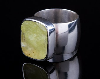 Rough Top Yellow Green Prehnite Wide Band Ring, Sterling Silver, Handmade