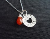 REDUCED - Sterling Silver Heart and Carnelian Necklace - Gemstone, Birthday Gift, Mother's Gift, Valentines Gift - Was 33.00 NOW 24.99