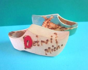 SALE Pair of Little Vintage Detroit Souvenir Dutch Wooden Shoes