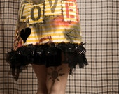 Festival Mini Skirt, punk rock Love Toy skirt. Gothic heart, black ruffle, dirty yellow stripes, painted art skirt. Crude Things. Large
