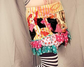 Patchwork Skirt, bright colorful mini skirt, stripes and ruffle short skirt, Summer festival fashion, layer skirt. Medium