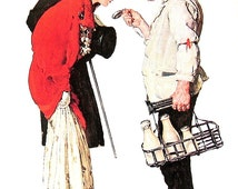 Couple with Milkman - Vintage1978 Norman Rockwell Print - 9 x 11