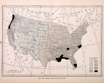 Rainfall Map of the United States - 1910 World Atlas Book Plate - 9 x 7 - TB