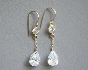 Cubic zirconia earrings,cz gold earrings cz dangle earrings, cubic zirconia pear earrings bridal earrings, bridal jewelry Kaimana Faux Drops