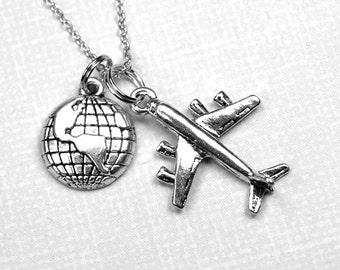 Airplane World Necklace, world traveller, map, globe, planet earth, small silver plated pewter charms on a delicate silver plated chain