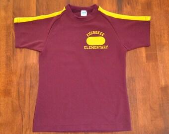 vintage 70s tee shirt CHEROKEE elementary school gym t-shirt youth 14 kids adult XS champion blue bar