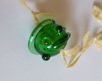 Lampwork Focal - Forest Bottle Bead - Recycled Glass, Eco-friendly, Upcycled