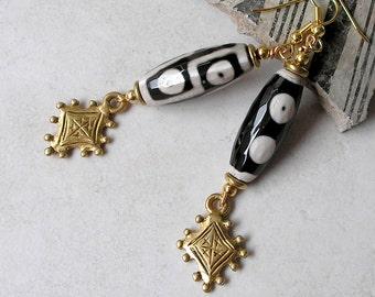 Glass Dzi Bead Earrings Brass Shield Tribal Ethnic Earth Tone Beaded Dangle Long Earrings