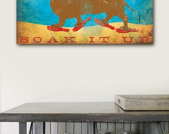Beach Life Dachshund dog in sandals illustration graphic artwork on gallery wrapped canvas by Stephen Fowler Customize it!