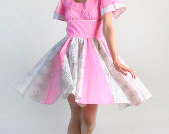 Vintage Hot Pink Lolita Dress - Floral Bubblegum Square Dance Dress - Medium