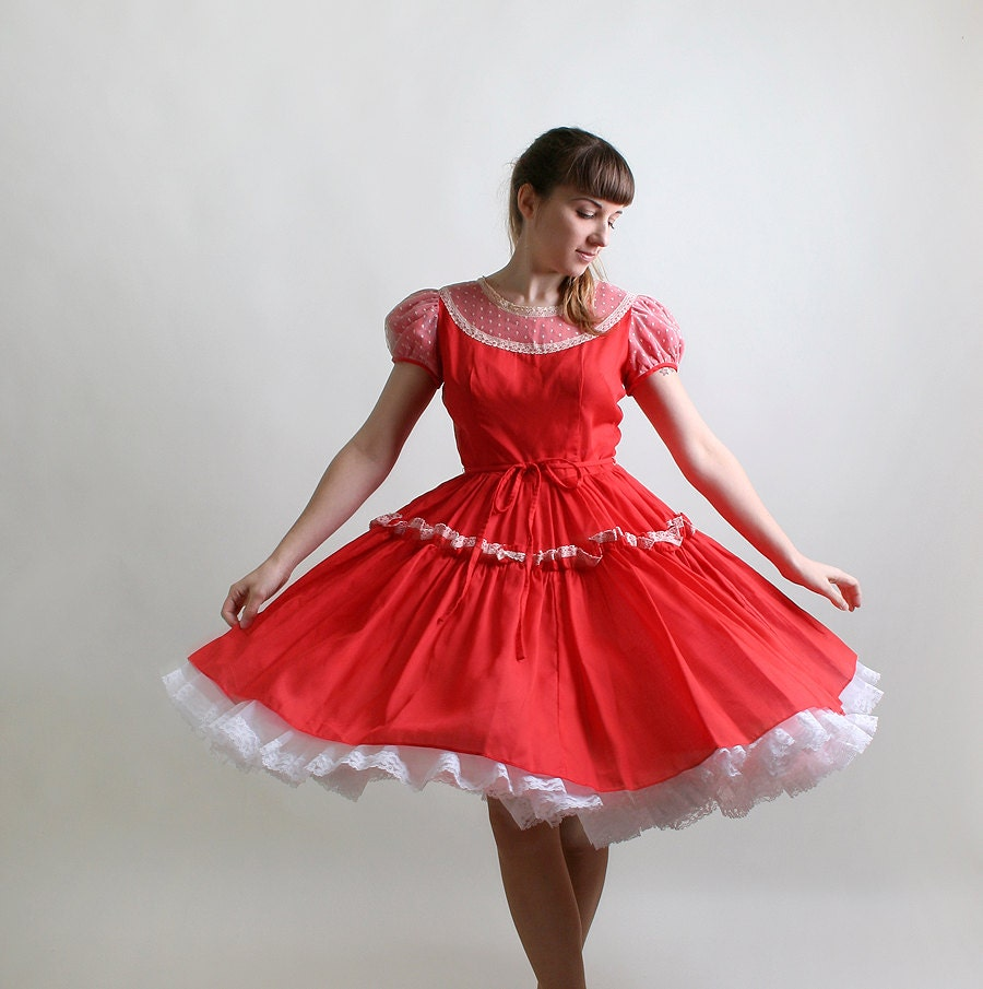 Vintage Red Lolita Dress Ruffle Square Dance Dress Medium