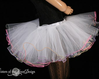White tutu skirt with pastel rainbow trim bridal club gogo dance spring cosmic color run child-adult - You Choose Size  Sisters of the Moon