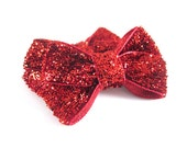 Red Glitter Baby Hair Bows - Great for Valentines Day - Toddler Hair Bows - Valentine Red Hair Bow - Infant Hair Bow Clips - Sparkle