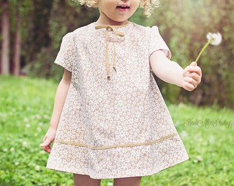 SALE!!!   1960 Style Tan with White flower  dress children child toddler clothing