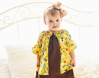 Whimsy Couture Sewing Pattern Tutorial  -- Center Insert Peasant Tops/Dresses -- newborn - 12 girls 3/4 & long sleeves PDF Instant