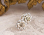 "Pearl Flower Post Earrings / Wedding Jewelry / Ivory Pearls, Vintage Rhinestones /  Floral Lace / ""Matilda"""