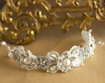 "Bridal Lace Jewelry | Pearl Wedding Cuff Bracelet / Vintage Crystal / Romantic Wedding  /  ""Sonnet"
