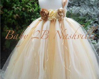 Vintage Dress Gold Dress Flower Girl Dress  Wedding Dress Tulle Dress Cream Dress Party Dress Birthday Dress Baby Dress Toddler Dress Tutu