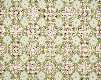 1950's Vintage Wallpaper - Orange Green and Gold Geometric Design
