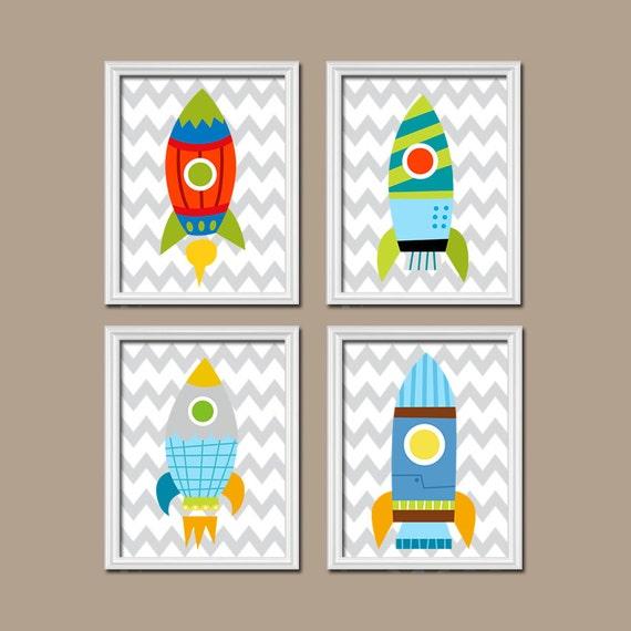 Rocket Boy Wall Art Nursery Boy Bedroom Wall Art By Trmdesign