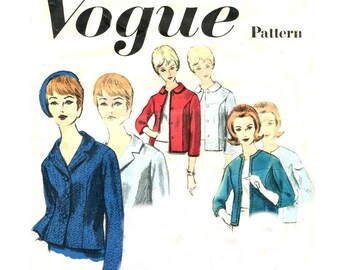 1960s Vogue 3007 Misses Basic Jacket Design - Five Styles - Collar / Sleeve Variations - Vintage Sewing Pattern - Size 12 / Bust 32