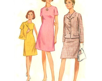 60s Womens A Line Dress / Jacket - Vintage Sewing Pattern Simplicity 7450 - Plus Size 18 / Bust 40