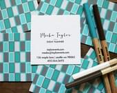 calling cards / business cards / mom cards mod rectangles aquas / silvers - set (50)