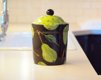 "Canister Pear Extra Large 10 1/2"" H x 7 3/16"" Diameter  - Black & Green Pear Pottery with Polka Dot Lid Cookie Jar Happy Home Decor Gift"