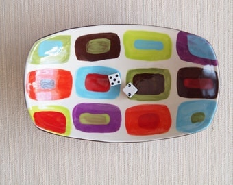 Ceramic Serving Bowl Serving Dish Small Bowl Nut Bowl Geometric Dish Colorful Small Scooped Bowl Midcentury Modern Home Decor Retro Decor GF