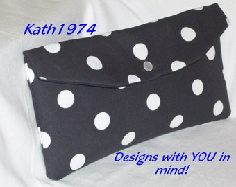 Black & White Clutch - Bridesmaid Clutch - Polka Dot Clutch - Custom Clutch - Premier Prints -  Polka Dots in Black - Bridesmaid Gift