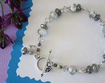 Silver Grey Bracelet, Gray Bracelet, Silver Bracelet, Czech Glass, Crystal, Gemstone, Beaded Bracelet