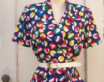 80s nautical dress / faux wrap tulip dress, short sleeve /womens PETITE 8