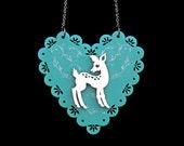 Doe-Eyed Deer Necklace - On Scalloped Egde Heart -  Acrylic Laser Cut Necklace (C.A.B. Fayre Original Design)
