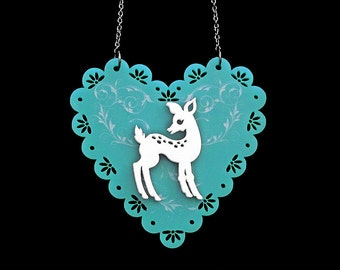 Doe-Eyed Deer Necklace - On Scalloped Egde Heart -  Acrylic Laser Cut Necklace (C.A.B. Fayre Original Design)