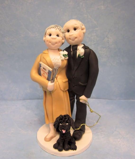 Wedding Reception Ideas For Older Couples: Custom Older Bride And Groom Wedding Cake Topper