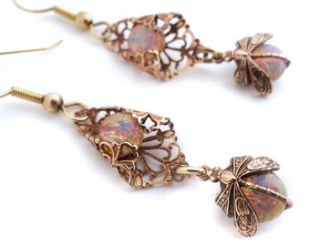 Milky opal Dragonfly earrings,  fire opal earrings, Art Deco style filigree dangle earrings, drop earrings, vintage style dragonfly jewelry