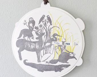woodland letterpress perpetual calendar