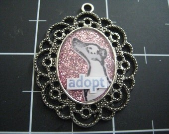 100% Donation Item: Adopt! Grey and White Spotted Greyhound Pendant, All proceeds go to Grey2K to protect greyhounds
