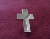 Deacon Cross Lapel Pin, Sterling, Deacon Stole riveted to Cross - Spiritus Christian Jewelry