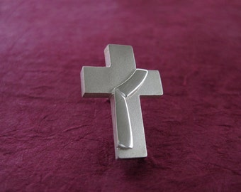 Deacon Cross Lapel Pin, Sterling, Deacon Stole riveted to Cross, Diaconate - Spiritus Christian Jewelry