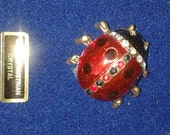 Vintage Genuine Austrian Crystal Lady Bug Pendant, Red & Black Lady Bug, Insect Pin