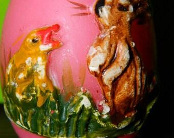 Vintage Candle Easter Egg, Pink Candle, Rabbit & Chicken, Easter Basket Decor, Home Decor
