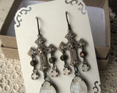 Brass Filigree Cross Earrings with Vintage Glass Teardrops & White Opal Rhinestone Dangles