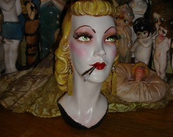 Vintage Smoking Blonde Mannequin Head Display Post Flapper Era 1940s Style